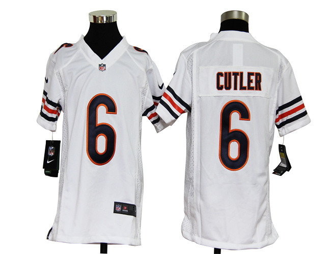 92811088510 ... Jay Cutler Youth Jersey Away White Game Replica #6 Nike NFL Chicago  Bears Jerseys