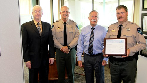 Commissioner Goldmark and New Law Enforcement Officer McCarthy | by Washington State Department of Natural Resources