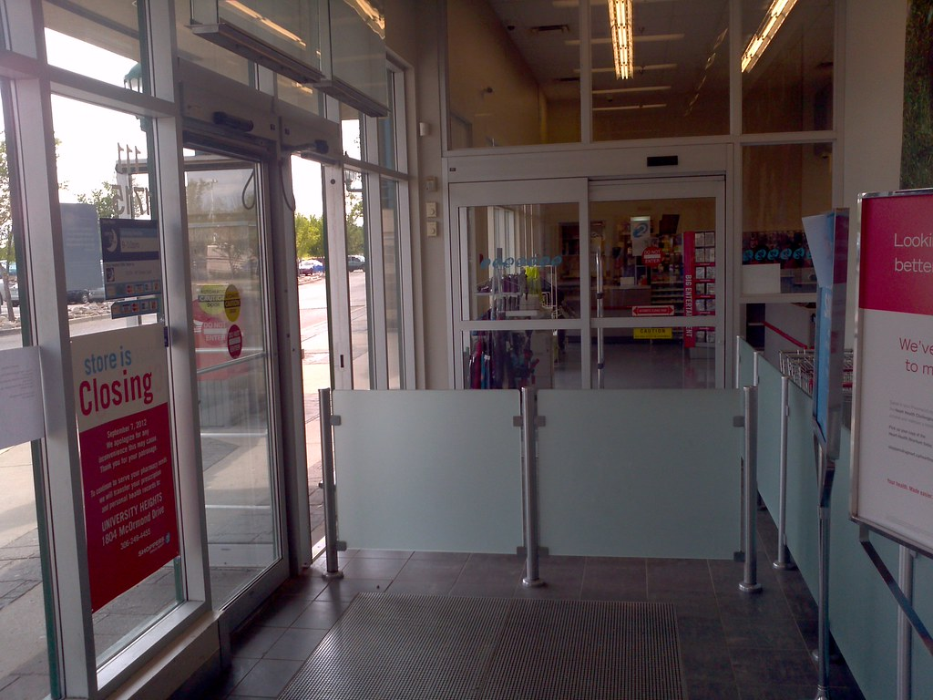 Shoppers drug mart store closing automatic sliding and swi