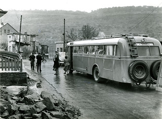 Bus at the border between Luxembourg and France in 1948 | by Stockholm Transport Museum Commons