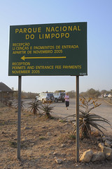 Limpopo Transfrontier Park entrance outside Massingir