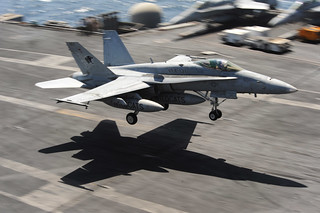 F/A-18C Hornet lands aboard USS Dwight D. Eisenhower. | by Official U.S. Navy Imagery