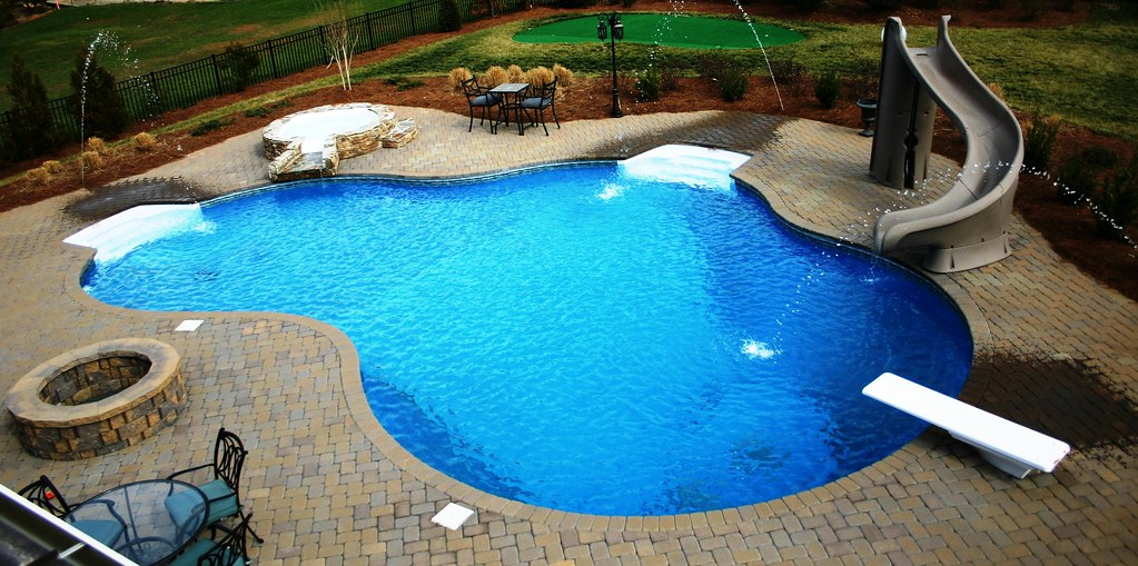 Delighful Pools With Slides And Diving Boards Rectangle Gallery A
