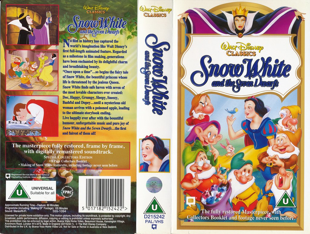 Snow White And The Seven Dwarfs Uk Vhs 1994 Front Cover