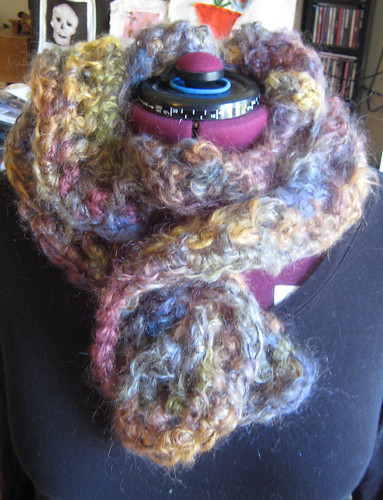 coiled mohair scarf makes a cowl | by drunkenlibraria