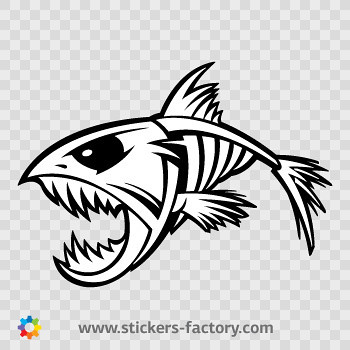 Stickers factory decal skeleton fish bones skull 06166 for Fish skeleton decal