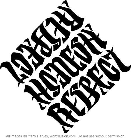 Loyalty Respect Ambigram Tattoo Design