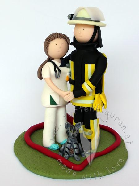Krankenpflegerin Feuerwehr Brautpaar Mit Katze Tortenfiguren
