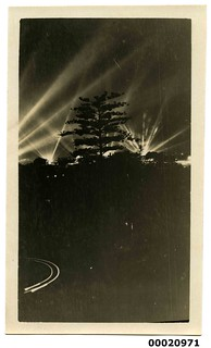 Search lights and trees possibly during the United States Navy visit, 1925 | by Australian National Maritime Museum on The Commons
