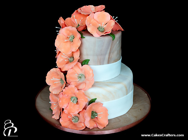 wedding cake pictures with cascading flowers cascading flowers wedding cake wedding cake with marbled 23446