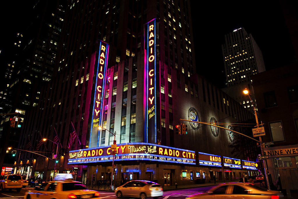 Radio City Music Hall is an entertainment venue located at 1260 Avenue of the Americas at Rockefeller Center in Midtown Manhattan New York City