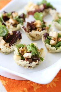Gorgonzola Cheese Cups with Pear & Hazelnut Green Salad Recipe | by CookinCanuck