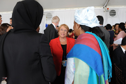 UN Women Executive Director Michelle Bachelet speaks with attendees at the High-level Lunch Event on Strengthening Women's Access to Justice, co-hosted by Finland, South Africa and UN Women | by UN Women Gallery