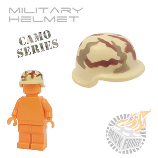 Military Helmet - Tan w/ Camo | by BrickForge