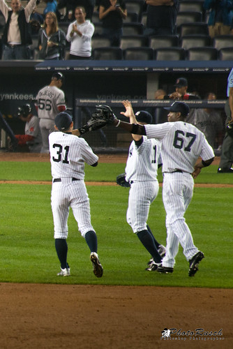 Yankee Players High Five each other after Champion Win | by Photo Rusch
