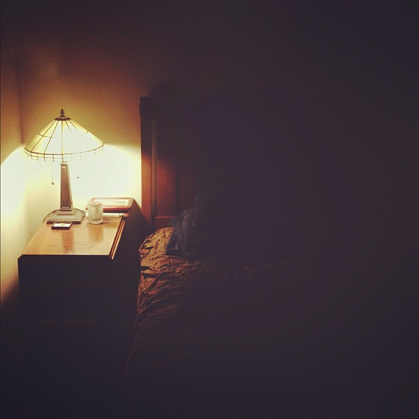 Night Bed Room Bedroom Lamp Dark Alone Empty