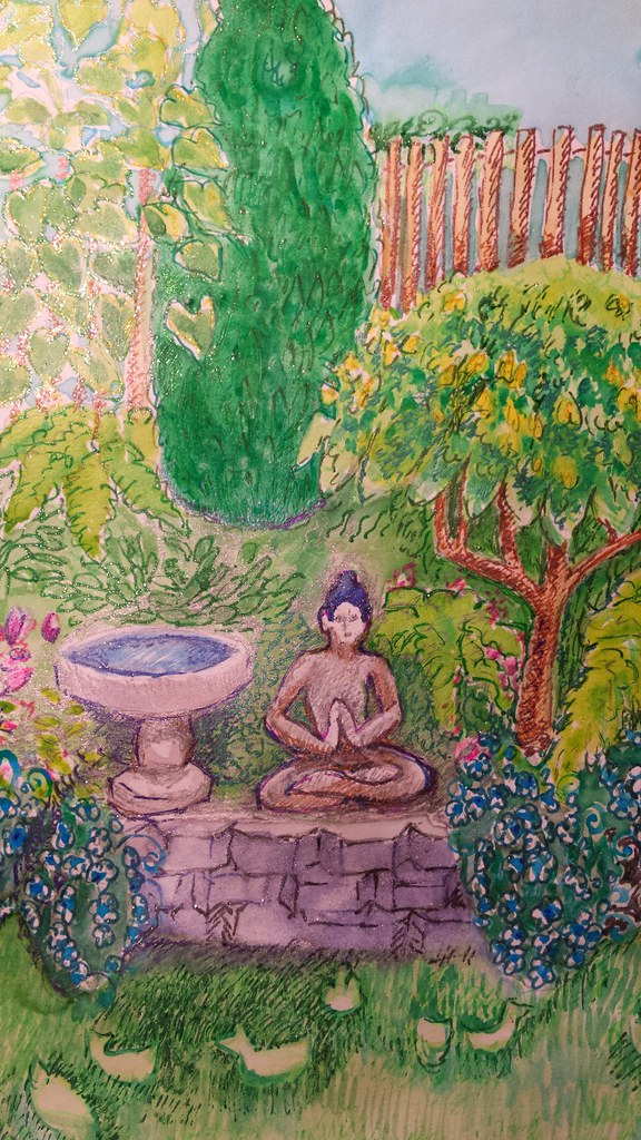 Lord Buddha Praying Near A Fountain Kapala Birds Flowers