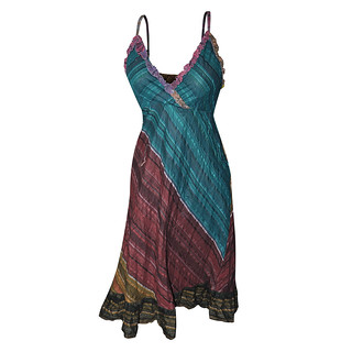 Multicolored Cotton Summer Spaghetti Straps Dress for Women | by DakshCraft