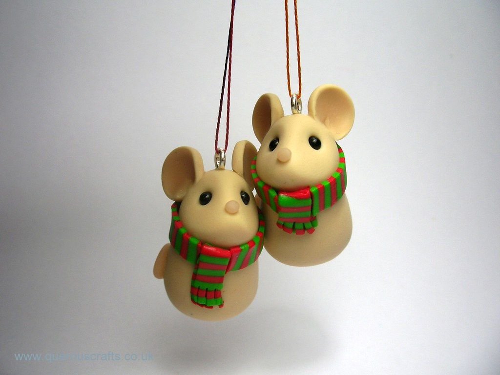 cozy christmas mice decorations by quernus crafts - Christmas Mice Decorations