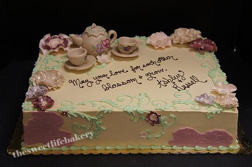 vintage tea party bridal shower cake by the sweet life bakery nj