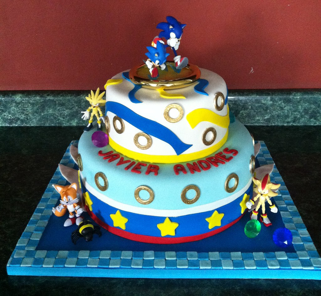 Sonic Theme Cake First Tier 2 Layers Chocolate Cake With