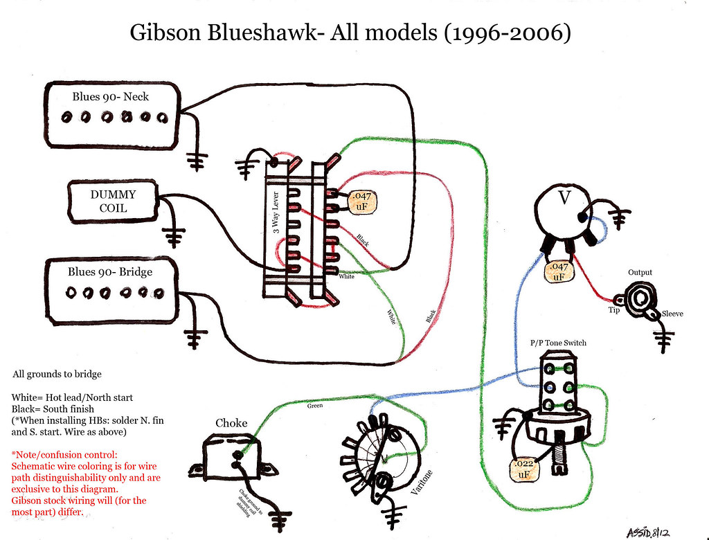 Guitar Pickup Wiring Diagrams 1 Simple Guide About Diagram Schematics 2 Volume Tone Blueshawk Schematic Gibson Color Pickups