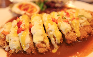 Breaded pork cutlet covered in red and green peppers, mozzarella cheese, and sweet potato sauce | by DMac 5D Mark II