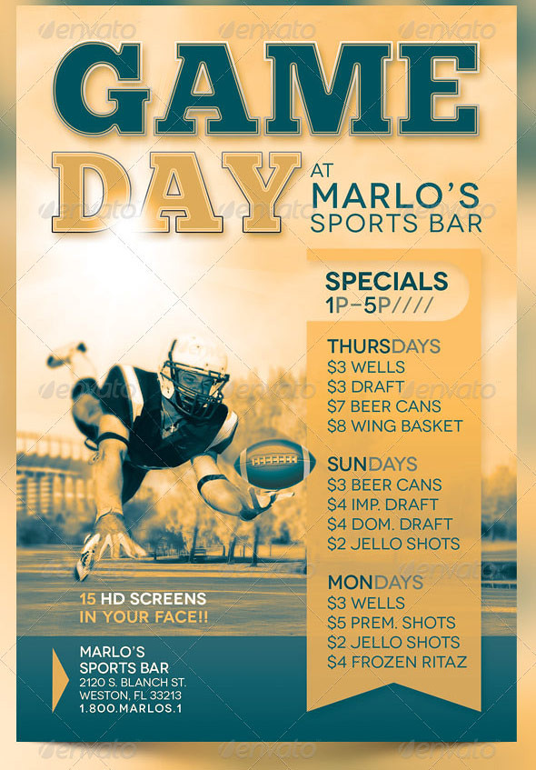 Game Day Sports Bar Flyer Template  The Game Day Sports Bar  Flickr