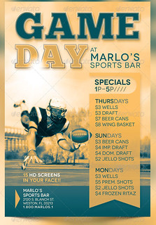 sports day poster template - game day sports bar flyer template the game day sports