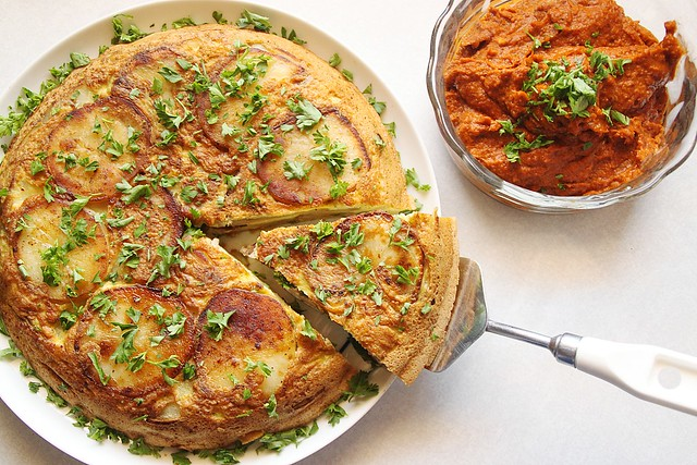 spanish tortilla with romesco sauce | Flickr - Photo Sharing!