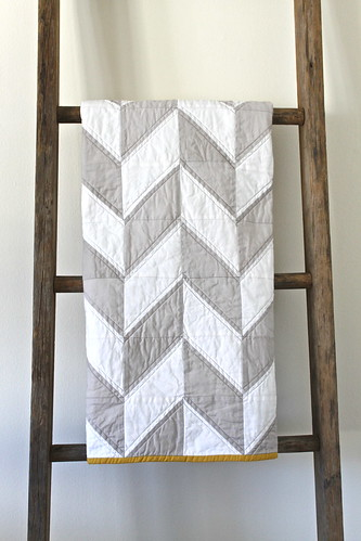 grey and white herringbone quilt. | by CB Handmade