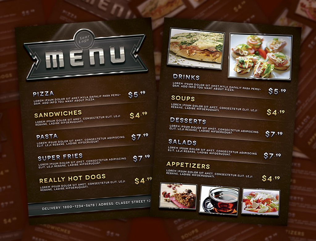 Menu Flyer Template This PSD File Is Very Easy To Personal Flickr - Menu brochure template free
