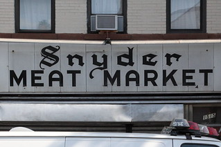 Surviving signage for the Snyder Meat Market, Flatbush, Brooklyn | by Eating In Translation