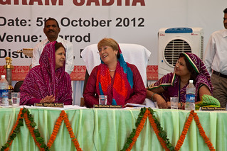 UN Women Executive Director Michelle Bachelet attends a gram sabha (local council) meeting with elected women representatives and grassroots women during a three-day visit to India from 3 to 5 October 2012 | by UN Women Gallery