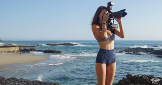 Bikini Swimsuit Model Shooting Simultaneous Stills & Video with a Nikon D800 E & Camcorder | by 45SURF Hero's Odyssey Mythology Landscapes & Godde