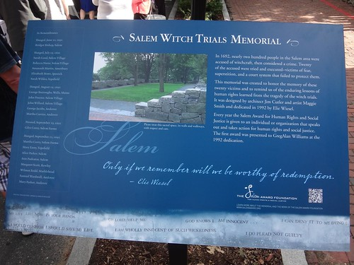 Salem Witch Trial Memorial Sign