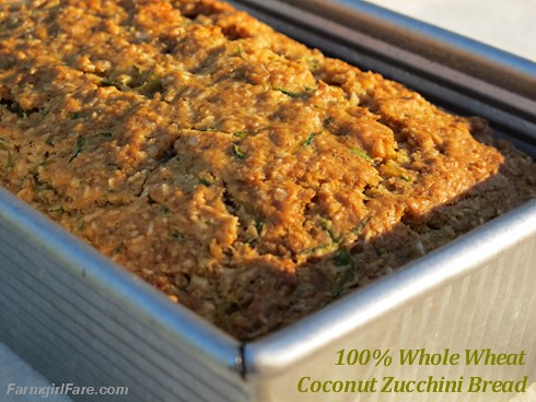 100% Whole Wheat Coconut Zucchini Bread | by Farmgirl Susan
