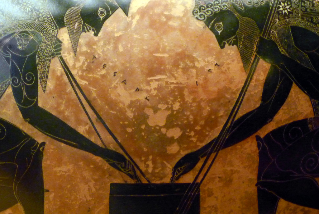 Exekias Attic Black Figure Amphora Detail With Game Flickr