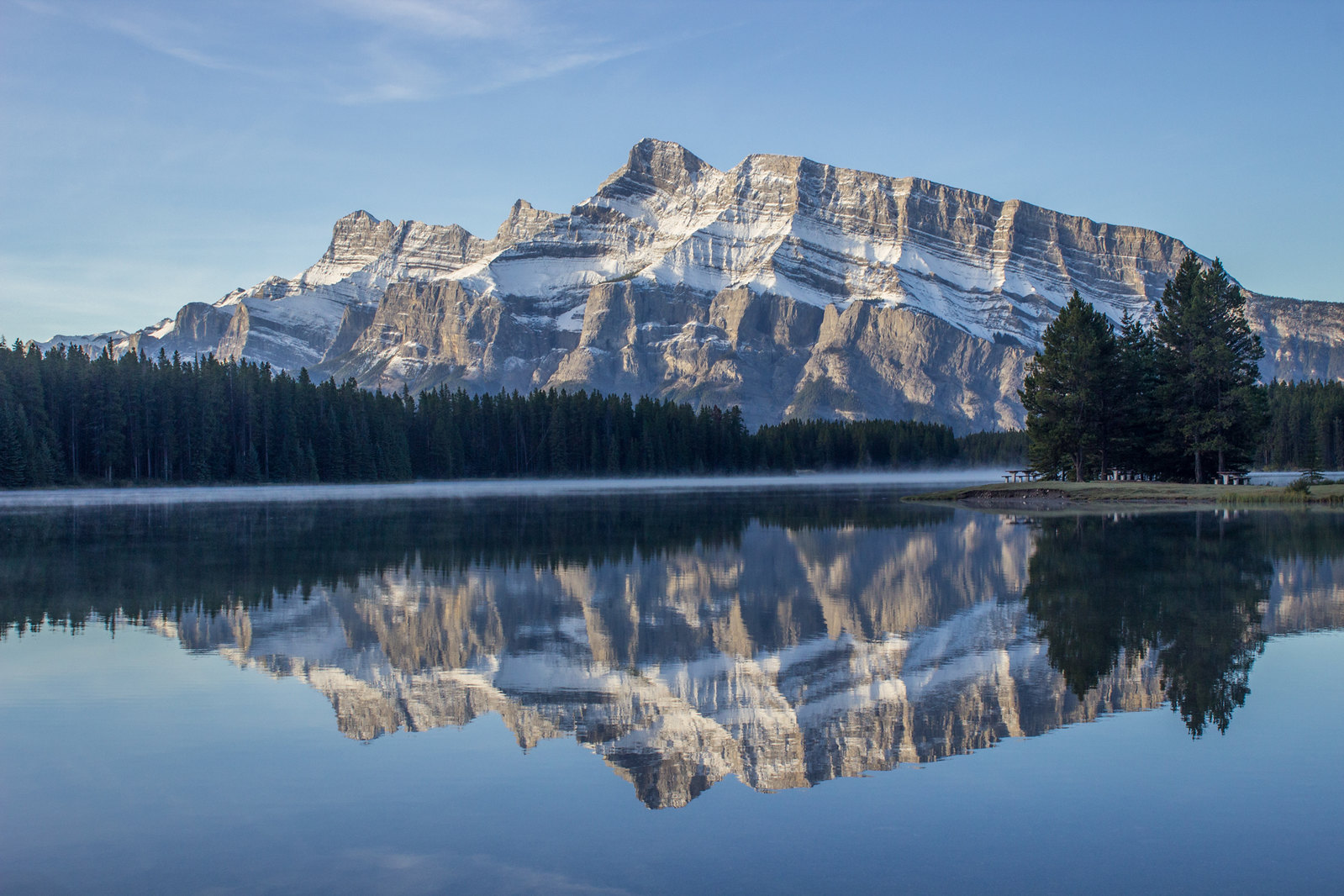 Morning reflection in Two Jack Lake