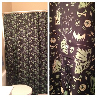 Our Awesome New Shower Curtain Frankenstein Bats Eyes Skulls Screws