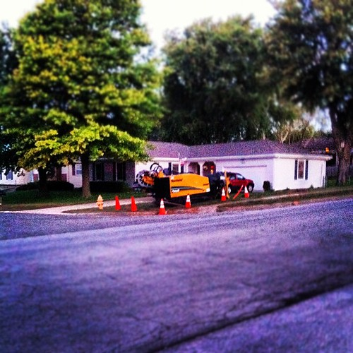 Yard work outside my house . Running cable under ground. #home #house #work #equipment | by newson242