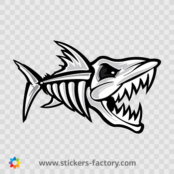 Stickers factory decal skeleton fish bones 06161 for Fish skeleton decal