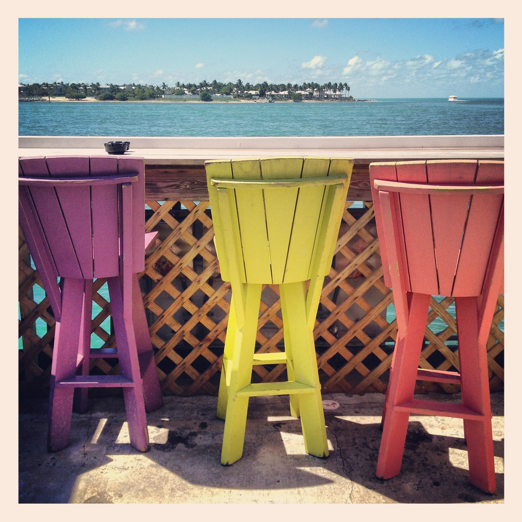 Colorful wooden bar stools key west florida keys tropical