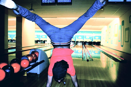 boston kings bowling alley friend doing handstand | by photographynatalia