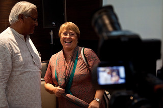 UN Women Executive Director Michelle Bachelet spoke to the media during a meeting with Bunker Roy, the founder of Barefoot College in Jaipur, India | by UN Women Gallery