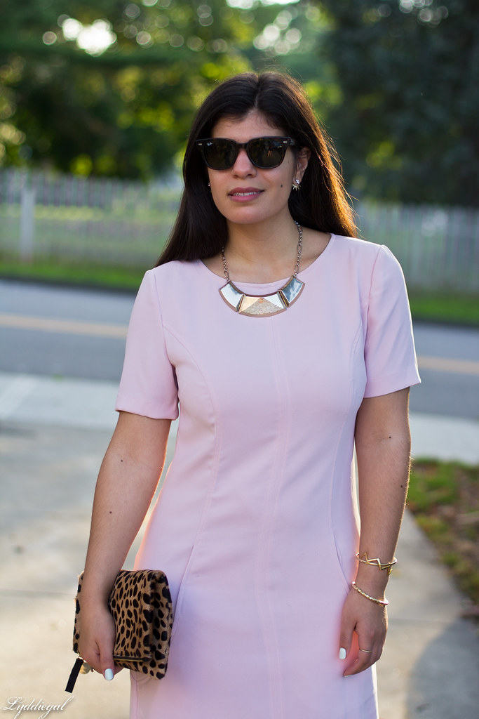 pink sheath dress, clair v leopard clutch, gorjana vista cuff-4.jpg