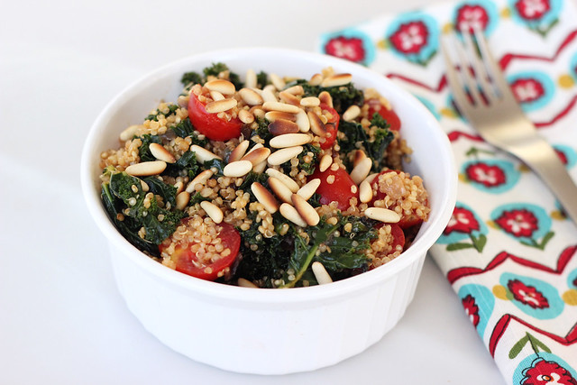 Sprouted Quinoa with Garlicky Kale, Tomatoes and Pine Nuts - Gluten-free + Vegan