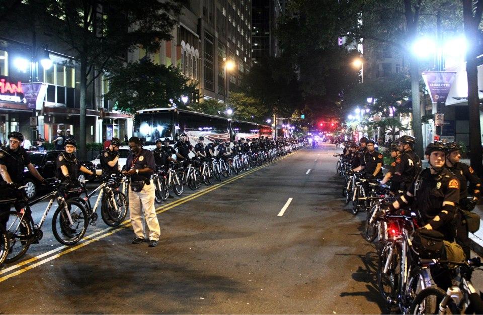 DNC huge line of bike cops by Jenna Pope
