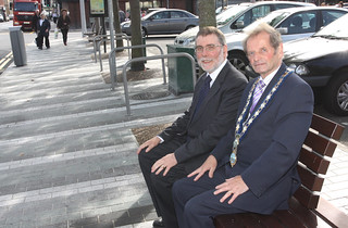 Social Development Minister Nelson McCausland has visited Newry to launch the public realm scheme in Monaghan Street and Hill Street. Pictured here with Mayor of Newry John McArdle | by Northern Ireland Executive