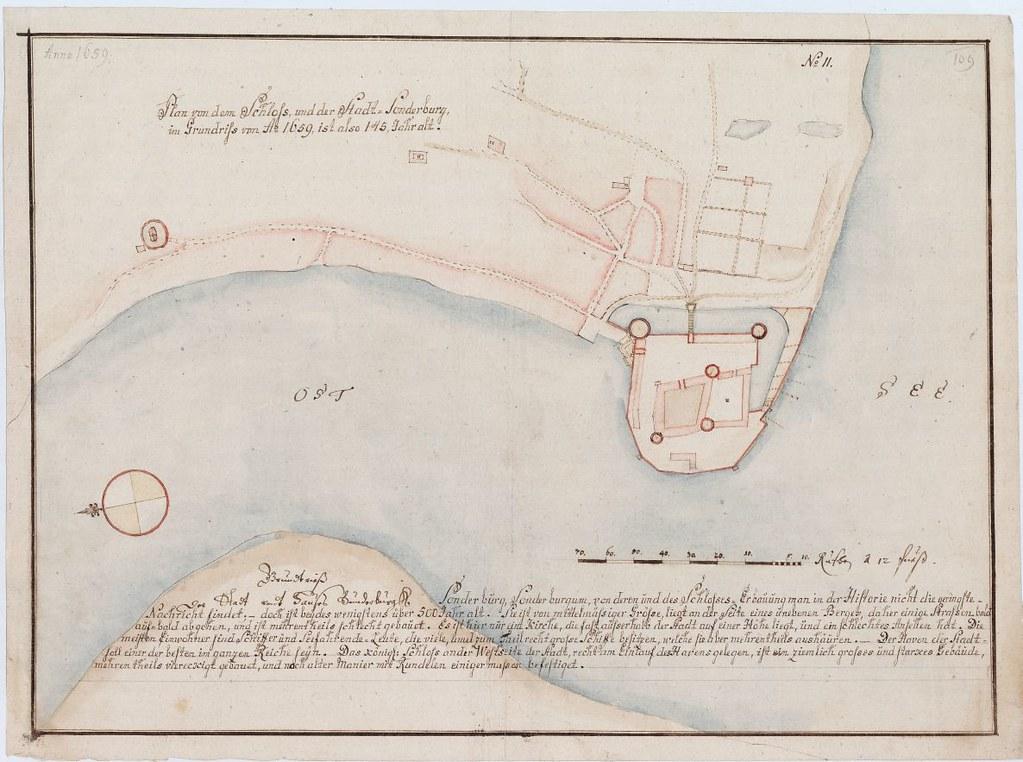 Kort over Sønderborg slot og by, 1659 | Joseph Carl Julien d… | Flickr